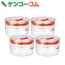 iwaki 密閉クリアパック 4点セット KBT7014SMR 200ml[iwaki ガラス保存容器]【送料無料】