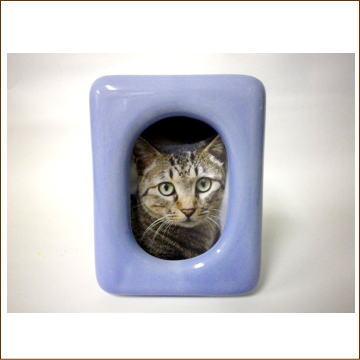 【仏壇・仏具セットとの同時購入限定】ペット用仏具 写真立て【陶器】ブルー