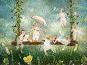 天使 妖精 絵画 ア スプリング ギャザリング(春のパーティー) ラメ入 グリーティング カード フ