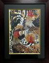 ジュエリー絵画® ジャポニズム 伊藤若沖 「軍鶏図 GK1」 長方形 Sサイズ 20.32×15.24cm インテリア壁飾り 新築 リフォーム お祝い プレゼント 記念品 額入りハンドメイド 宝石で作った絵画 kenzai