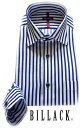 BILLACK メンズ ワイシャツ 長袖 形態安定 ノーアイロン シャツ ブルー ホールドストライプ ワイドカラー ビジネス お洒落着
