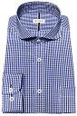メンズ ワイシャツ 長袖 形態安定 シャツ ブルー ギンガムチェック ラウンド ホリゾンタルワイドカラー ビジネス おしゃれ KF2054-2