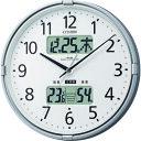 ショッピング電波 シチズン 電波 壁掛け時計 高精度温湿度計付き カレンダー 環境目安 シルバー φ275x50 4FY618-019