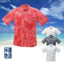 かりゆしウェア 沖縄アロハシャツ メンズ パイナップルライン柄 ボタンダウン リゾートウェディング