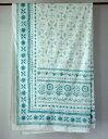 マルチカバー 北欧 おしゃれ インド綿 エスニック アジアン 長方形 花柄 平織り エルスフラワー ミント GR ベッドカバー シングル ソファーカバー 横145cm 縦220cm