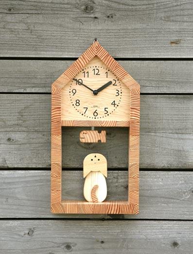 「キコリの時計」 木の振子時計 【ネコとサカナの時計】 05P01Oct16