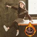 【予約品】冬 裏起毛 フリル トップス スカート付きレギンス セットアップ スカッツ ブラウン フレアスカート 暖か 女の子 子供服 キッズ ジュニア レギンス スカート かわいい 2点セット 上下セット【110-160】韓国子供服