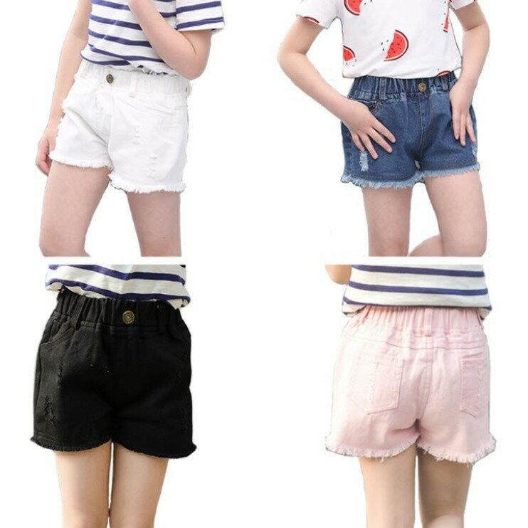 パンツショートパンツ子供服女の子ダメージ加工半ズボンデニムパンツキッズ服白色黒ピンクホワイトブラック