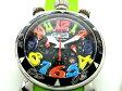 【★美品★】《送料込》  Gaga Milano ガガミラノ 『クロノ 48mm』 腕時計 《クォーツ 電池式》 6050.2 ブラック×マルチカラー×グリーン 【1ヵ月保証★】 15957@