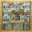 【★送料込★】 HERMES エルメス 『カレ90』 《UN SIECLE DE COURSES A DEAUVILLE (ドゥーヴィル競馬の時代)》 《ゴールド×グリーン》 馬具/装飾/シルクツイル