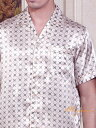 クロスU柄 ライトベージュ 半袖メンズシルク100%パジャマ 絹100% 紳士【送料無料】父の日