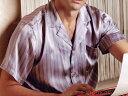 半袖Lのみ・長袖 高級シルク100%パジャマ 白色とラベンダーのストライプ柄 半袖/長袖