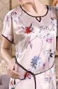 シルクネグリジェ 絹100% 花柄 ベージュ ラウンドネック【楽ギフ_包装選択】あす楽対応