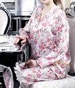 シルク100%パジャマ レディース 長袖 スミレ柄 紫色 サテン ルームウェアll【送料無料】母