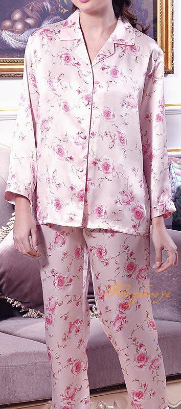 シルク100%パジャマ レディース 長袖 バラの花柄(長袖/ピンク) サテン ルームウェアll【送料無料】【smtb-KD】あす楽対応【RCP】