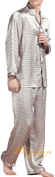 シルク100%パジャマ メンズ 長袖 オフホワ...の紹介画像2
