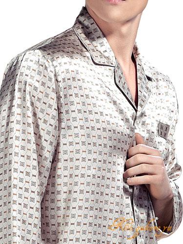 シルク100%パジャマ メンズ 長袖 オフホワイ...の商品画像