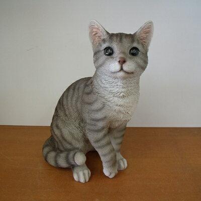今だけ送料無料入荷致しましたかわいい猫♪グレーねこガーデニング雑貨オブジェ置物・オーナメント1260