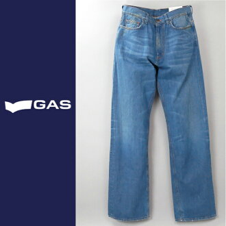 ■GAS men ■ ユーズド processing orange stitch straight jeans denim underwear gas-m-p-38-623