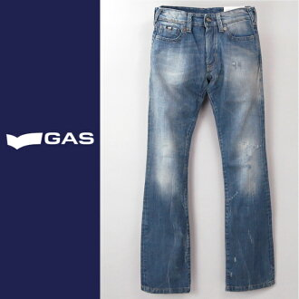 ■GAS men ■ ユーズドダメージ processing bootcut jeans denim underwear gas-m-p-38-624