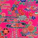 和柄生地 紅型 (びんがた) タイプ1 ピンク 【生地 和柄 布】