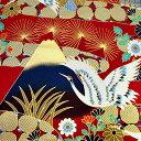 和柄生地 富士と鶴 日本の美 赤 【和柄 生地 布地】