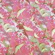 和柄生地 流水と鶴の舞 ピンク 【生地 和柄 布】