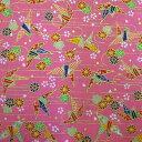 和柄生地 千代紙 風 折鶴  ピンク 【生地 和柄 布】
