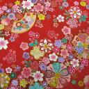 和柄生地 和風花柄着物風 金彩斜め花模様 赤 【和柄 生地 布地】