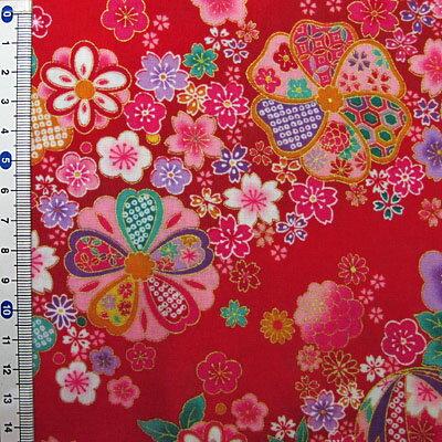 和柄生地和風花柄着物風金彩斜め花模様赤【和柄生地布地】