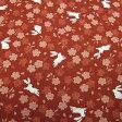 和柄生地 うさぎと小桜柄 赤  和柄布