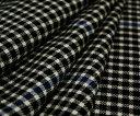 白黒チェックにブルーライン♪ウール100%綾織り先染め♪ジャケット、ポンチョ、ベスト、スカート、パ ンツ等に♪W巾150cm 防縮加工 布 生地 布地 服地 通...