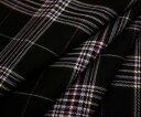 黒地にオフホワイト&ピンクのラインがキュートなタータンチェック♪日本製上質ウール/ポリエステル混先染めツイル(綾織り)生地♪W巾150cm 防縮加工 布 布地 服地 通販 ウール チェック ウール生地 チェック柄 スカート パンツに