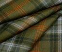 オレンジラインがキュートなオータムカラーのタータンチェック綾織り/ツイル♪日本製上質ウール/ポリエステル混先染め生地♪ W巾150cm 防縮加工 布 布地 服地 通販 チェック ウール生地 10cm単位 チェック柄 スカート等に