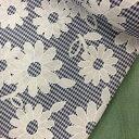 綿ポリエステル生地ギンガムチェックに白い花★4色110cm巾×10cm単位