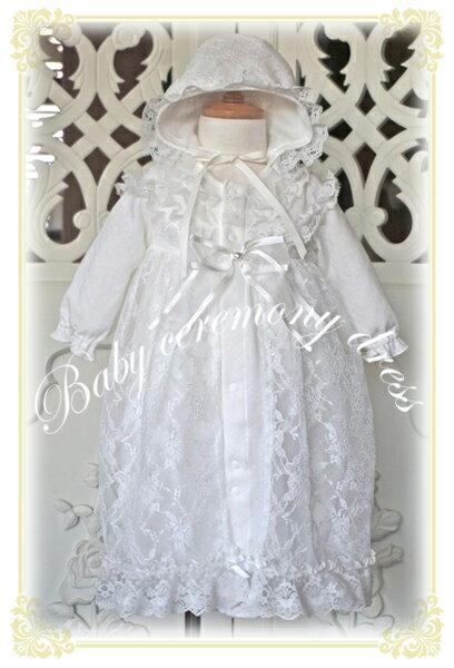 冬用日本製ニットキルトのラッセルレースのセレモニーコンビドレスお宮参りベビーフォーマル男の子女の子ギ