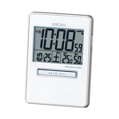 SEIKO セイコークロック トラベラ 電波置時計 旅行用置き時計 SQ699W 白パール印刷 ダンダントーンアラーム 温湿度表示 置用スタンドつき デジタル【成人式 お祝い】【父の日】【クリスマス】