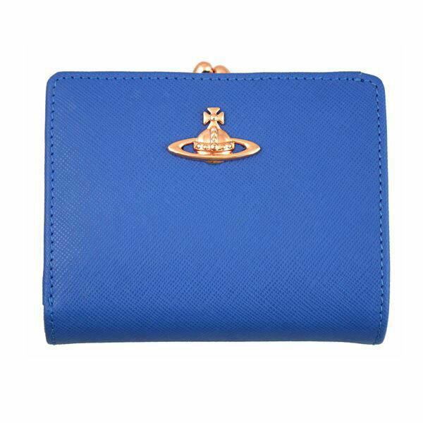 ヴィヴィアンウエストウッド Vivienne Westwood 二つ折りガマ口財布 32874 BLUE ブルー [ビビアン ギフト プレゼント ラッピング無料 お祝い 母の日 クリスマス]