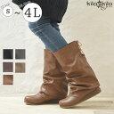 【kilakila*キラキラ】ナウシカブーツ ブーツ レディース 編み上げ 編上げ 大きいサイズ レースアップ ロング ヒール 履きやすい 歩きやすい 疲れない ぺたんこ 黒 ブラック 楽ちん ナチュラル カジュアル 柔らかい レディース靴