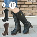 【kilakila*キラキラ】ブーツ レディース ロングブーツ 大きいサイズ ブラック 黒 ホワイト 白 美脚 歩きやすい 疲れにくい 厚底 ヒール おしゃれ カワイイ イベント コスプレ レディース靴