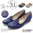 【kilakila*キラキラ】【大きいサイズ対応S〜3L(25.5cm)】日本製(国産)●キラキラビジューがアクセントなオペラシューズ。ぺたんこパンプスで痛くないローヒールフラットシューズはナチュラルでかわいいスリッポンはレディース靴
