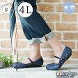 【kilakila*キラキラ】【大きいサイズ対応S〜4L(26.0cm)】日本製(国産)●雨の日でも安心なぺたんこレインパンプス。花柄のアンクルストラップ付ラウンドトゥのローヒールなフラットシューズはレディース靴