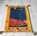 ギャッベ(ギャベ)カシュカイ族の手織りラグ・Gabbeh・玄関サイズ77x53cm ブルー/イエロー 幾何学模様 動物モチーフ