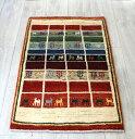 ギャッベ・ワンランク上の織りアマレバフ イラン手織りラグ94×59cm玄関マットサイズ カラフルなタイル 動物と植物のモチーフ(gh29430)