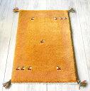 ラグ・ギャッベ(ギャベ)カシュカイ族の手織りラグ・玄関マットサイズ87×58cmイエロー 動物のモチーフ
