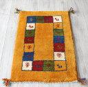 ギャッベ・カシュカイ族の手織りラグ・ 厚手 玄関マットサイズ90x61cm イエロー カラフルなタイル