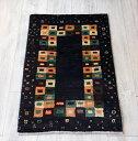 ギャッベ シラーズ ・カシュカイ族の手織り・アマレバフ・87×55cm玄関マットサイズ ダークブラウン/カラフルタイル