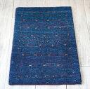 ギャッベ最上級の織り/ロリアタシュ・ミニサイズ61×43cmブルー・カラフルライン&ドット