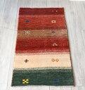 ギャッベ・ノマド Nomad イラン手織り 玄関サイズ100×55cmレッド&アイボリー&グリーンボーダーストライプ 幾何学モチーフ