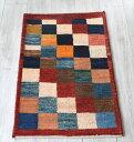 ギャッベ・ノマド Nomad イラン手織り 玄関サイズ90×60cmカラフルタイル/レッド